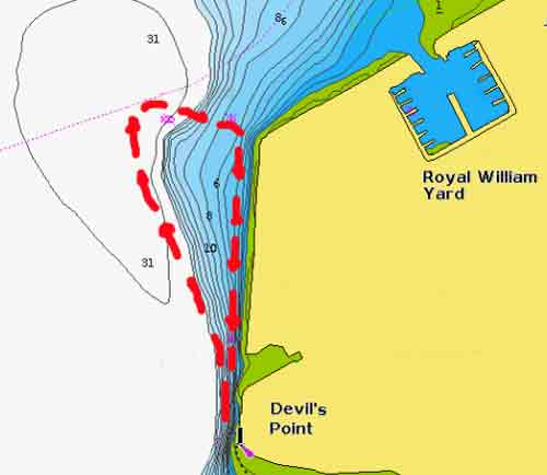 Devils point dive map