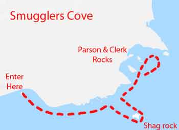 Smugglers cove dive map
