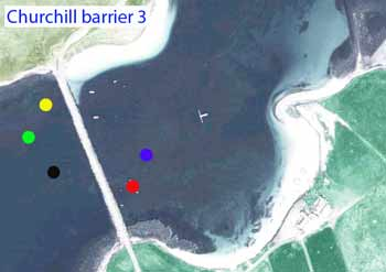 Churchill barrier dive map