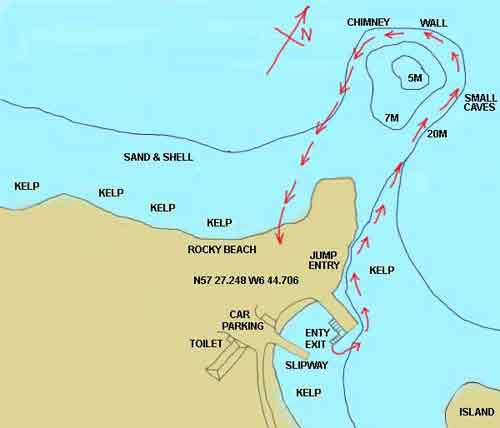 Meanish reef dive map