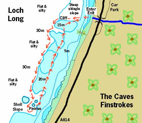 The caves dive map