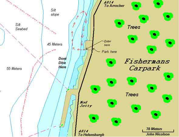 Fishermans carpark dive map
